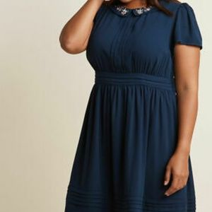 Navy Shirt Dress with Embroidered Collar
